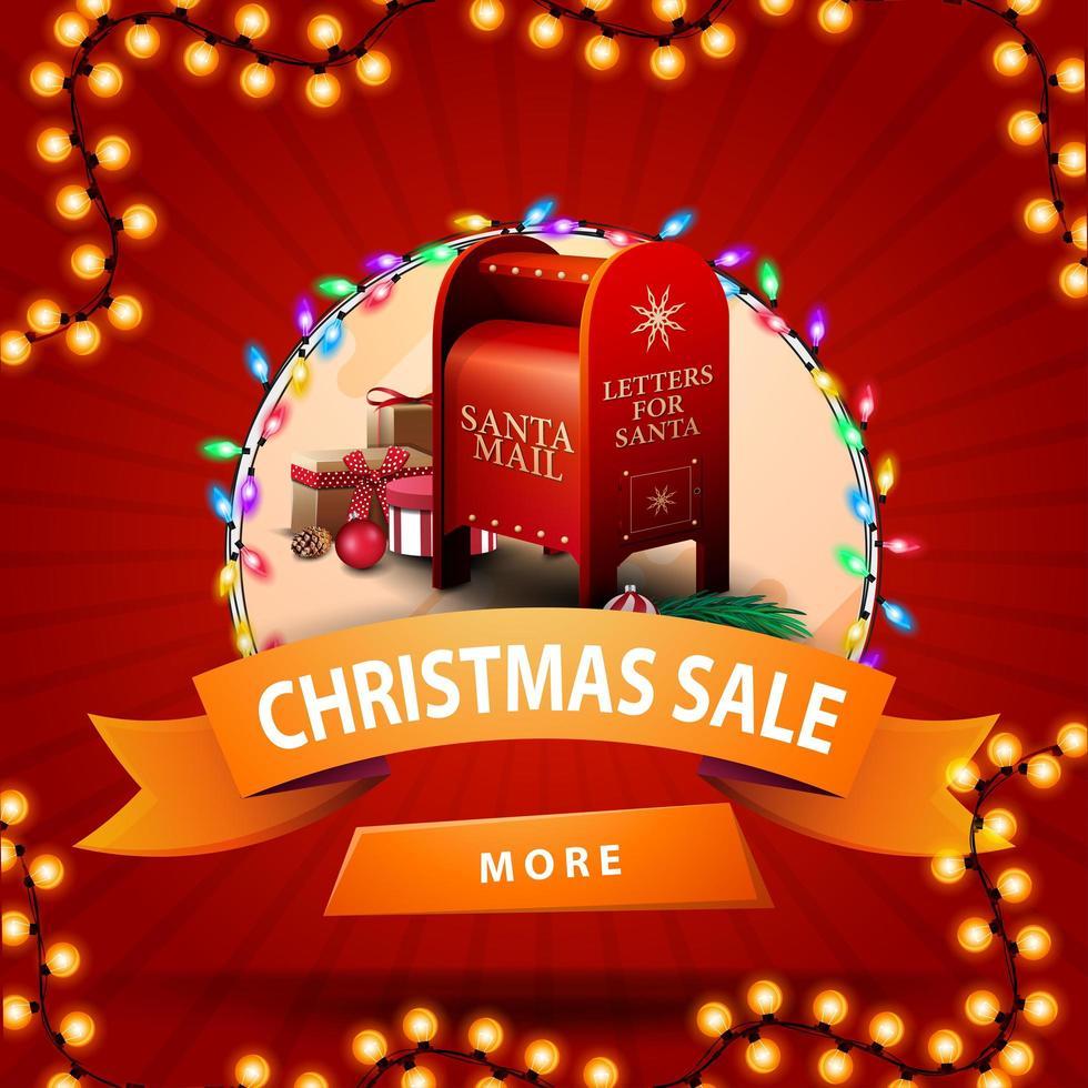 Weihnachtsverkauf, rundes Rabattbanner mit orangefarbenem Band, Knopf, Girlande und Weihnachtsbriefkasten mit Geschenken vektor