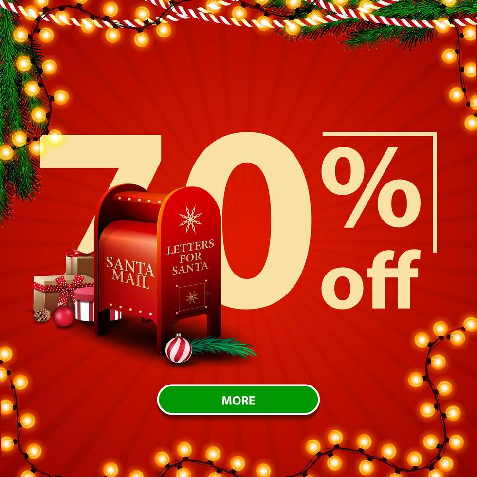 Weihnachtsverkauf, bis zu 70 Rabatt, rotes Rabatt-Banner mit großen Zahlen, Knopf, Girlande und Santa Briefkasten mit Geschenken vektor