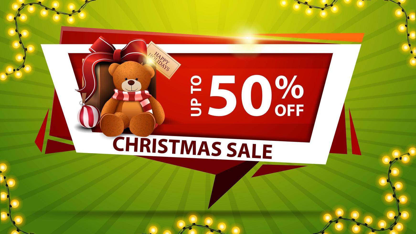 Weihnachtsverkauf, bis zu 50 Rabatt, rotes Rabattbanner in Form einer geometrischen Platte mit Geschenk mit Teddybär vektor
