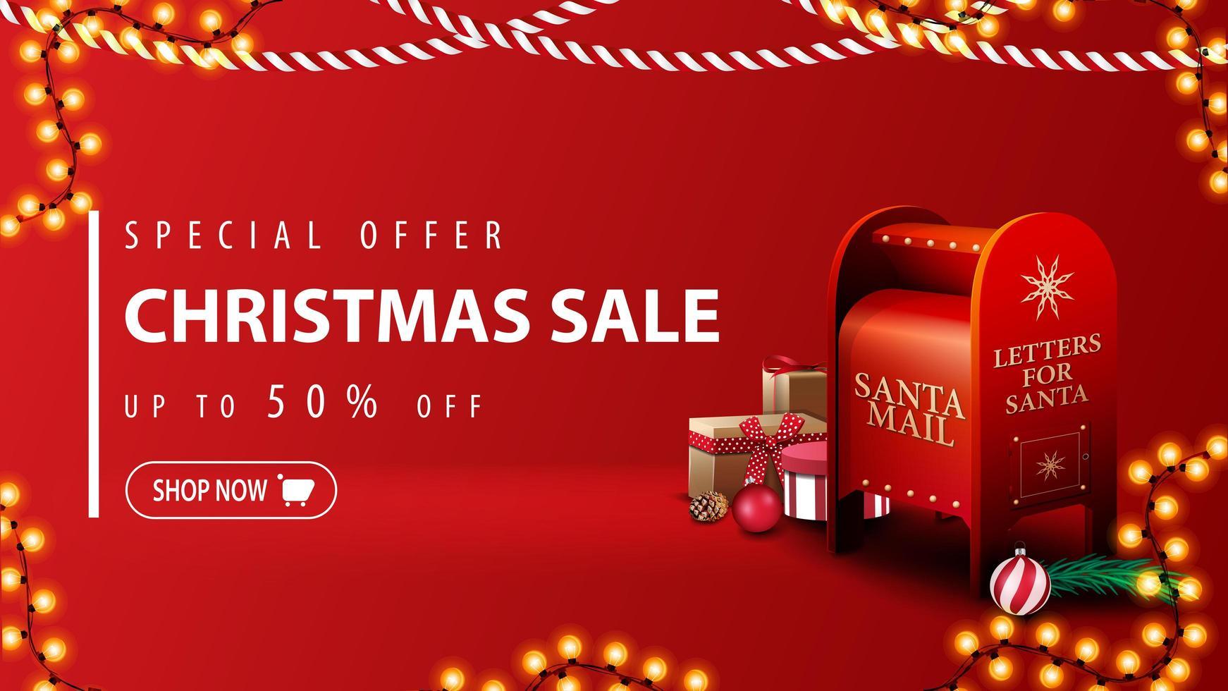 specialerbjudande, julförsäljning, upp till 50 rabatt, modern röd rabattbanner i minimalistisk stil med julkransar och santa brevlåda med presenter vektor