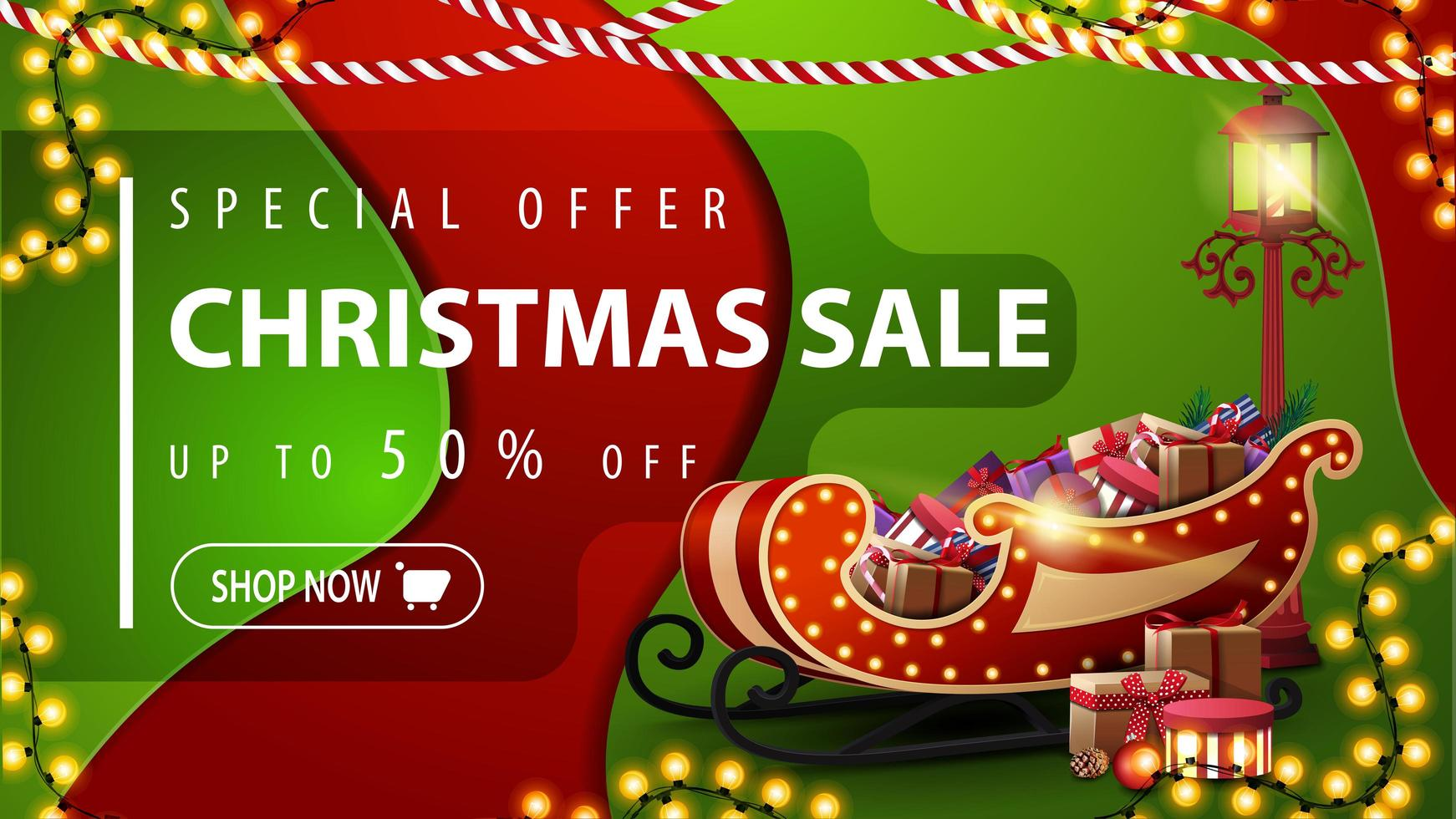 specialerbjudande, julförsäljning, upp till 50 rabatt, röd och grön rabattbanner i materialdesignstil med kransar, pollykta och santa släde med presenter vektor