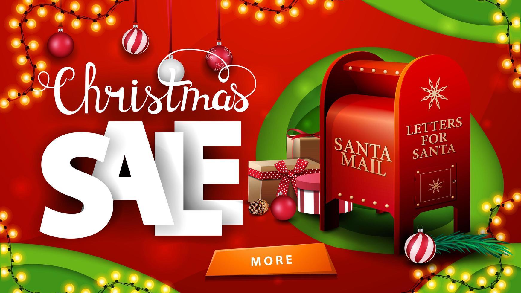 julförsäljning, röd och grön rabattbanner i pappersskuren stil med kransar, julbollar, knapp och santa brevlåda med presenter vektor