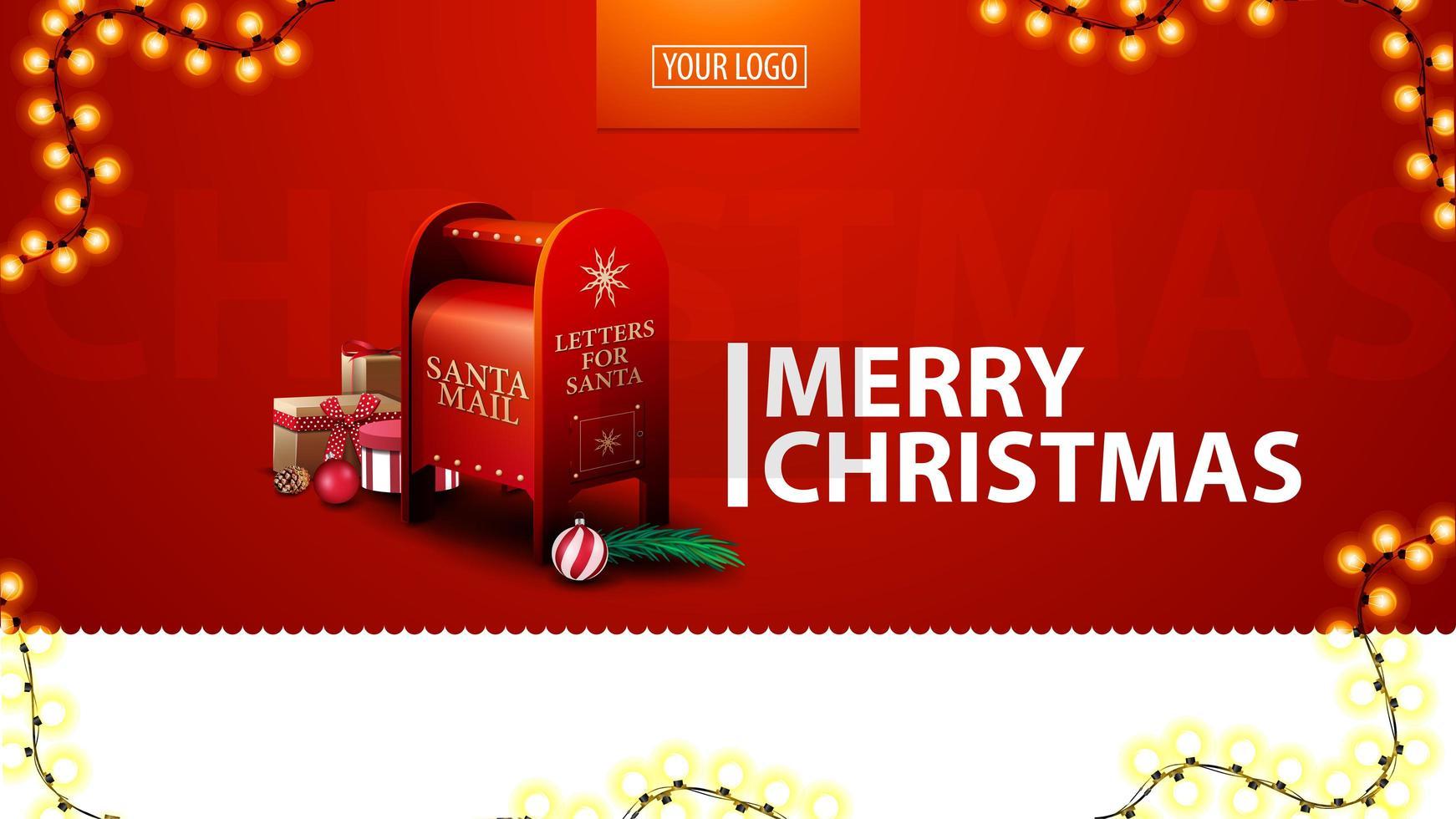 god jul, rött modernt vykort för webbplats med krans och santa brevlåda med presenter vektor