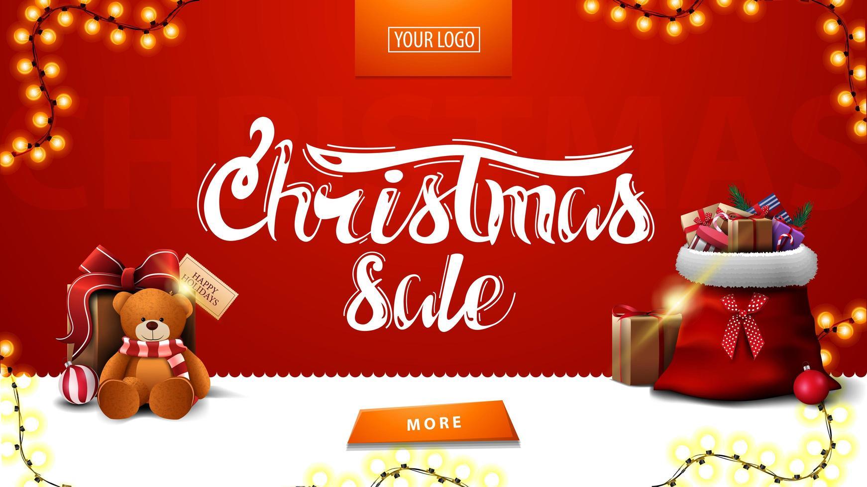 Weihnachtsverkauf, rotes modernes Banner für Website mit Girlande, Knopf, Weihnachtsmann-Tasche und Geschenk mit Teddybär vektor