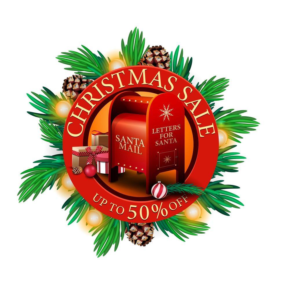 julförsäljning, upp till 50 rabatt, röd rund rabattbanner med julgrangrenar, kottar, lökar och santa brevlåda med presenter vektor