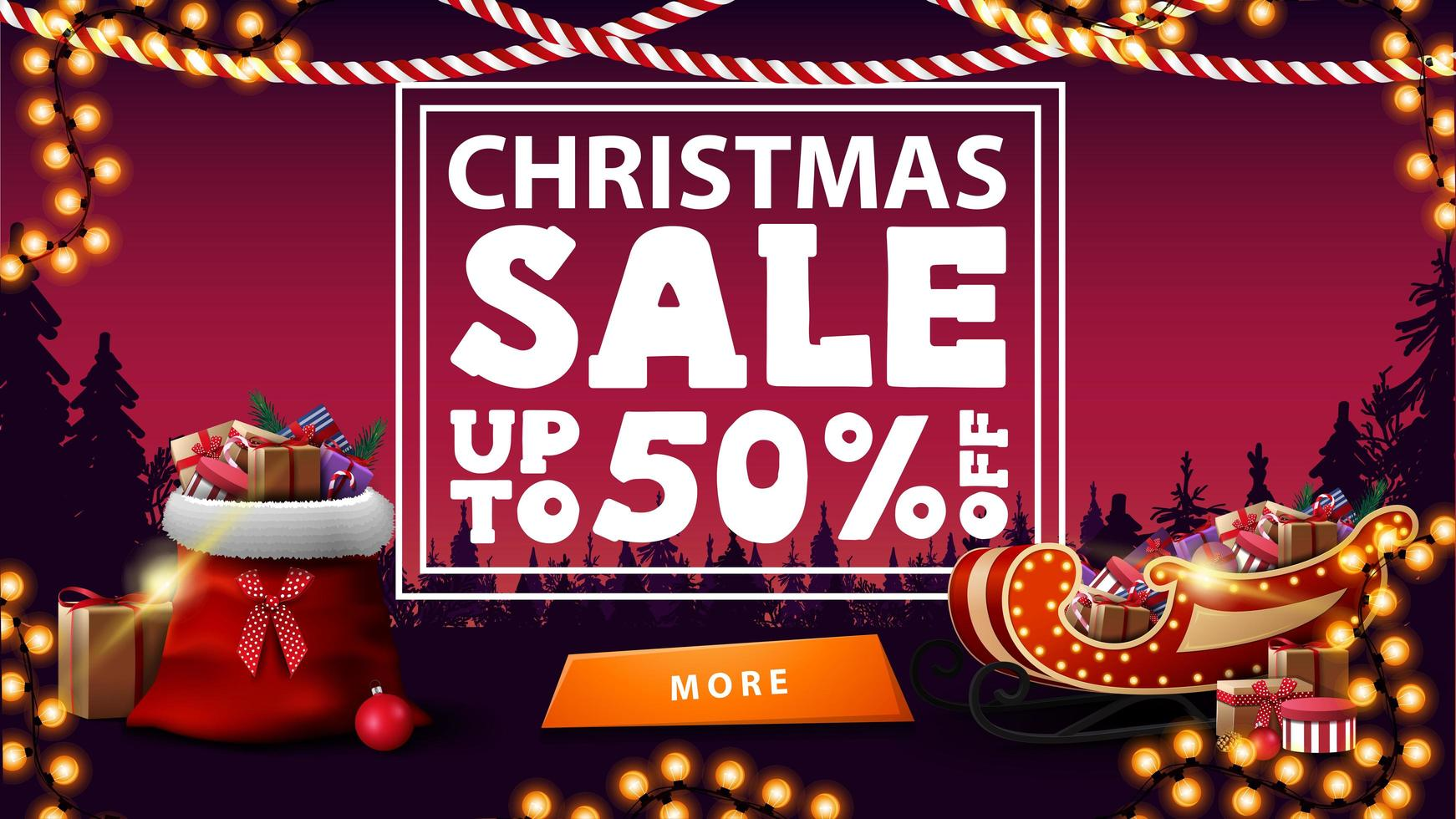 Weihnachtsverkauf, bis zu 50 Rabatt, rosa Rabatt Banner mit Kiefernwald auf Hintergrund, Girlanden, Knopf, Weihnachtsmann Tasche, Weihnachtsschlitten mit Geschenken vektor
