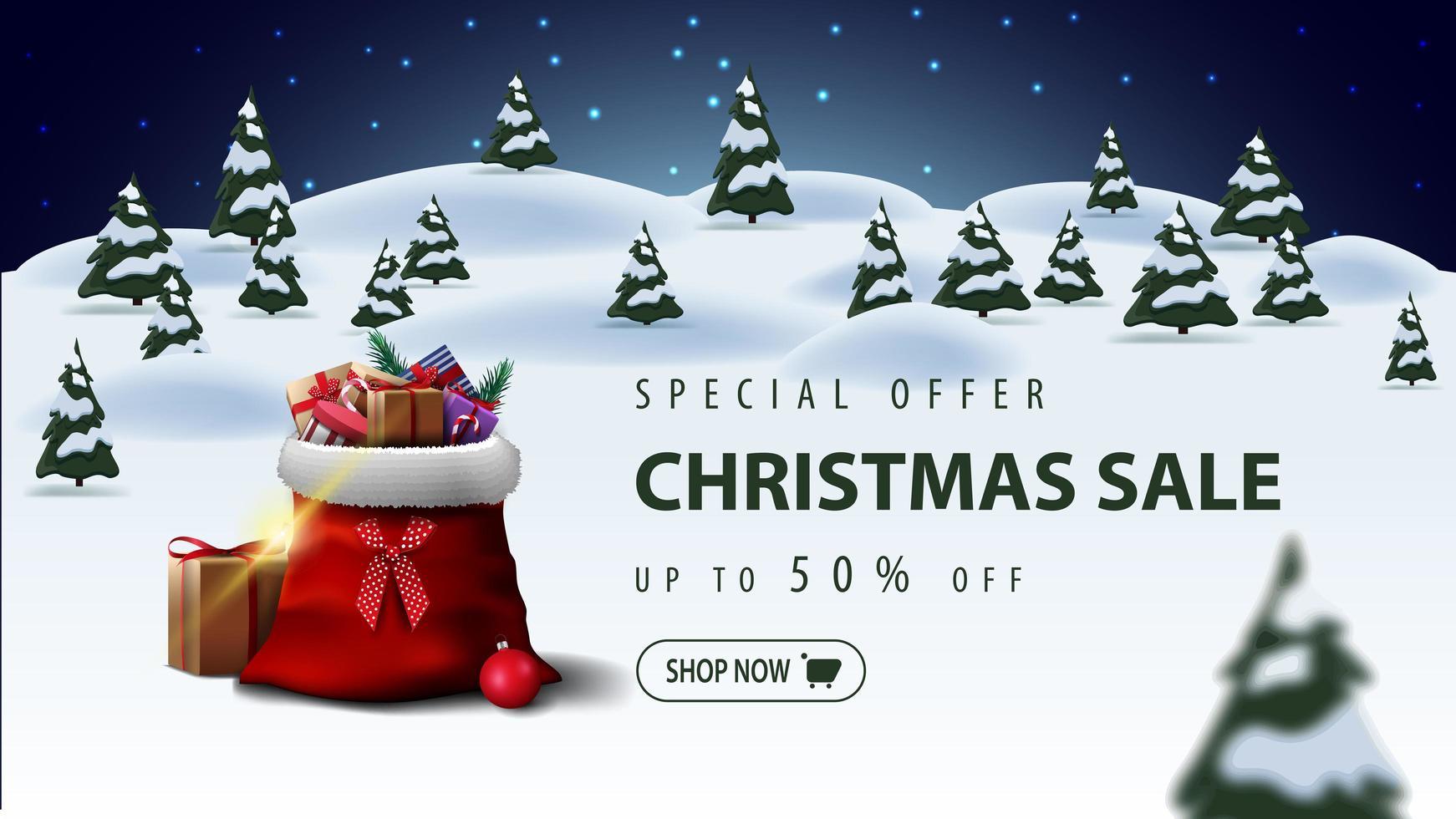 Sonderangebot, Weihnachtsverkauf, bis zu 50 Rabatt, schöne Rabatt Banner mit Weihnachtsmann Tasche mit Geschenken und Cartoon Winterlandschaft auf Hintergrund vektor