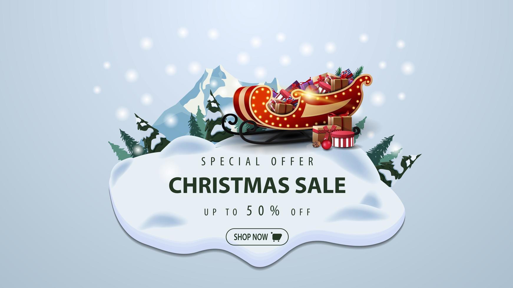 Sonderangebot, Weihnachtsverkauf, bis zu 50 Rabatt, modernes Rabattbanner mit Kiefern, Drifts, Berg- und Weihnachtsschlitten mit Geschenken vektor