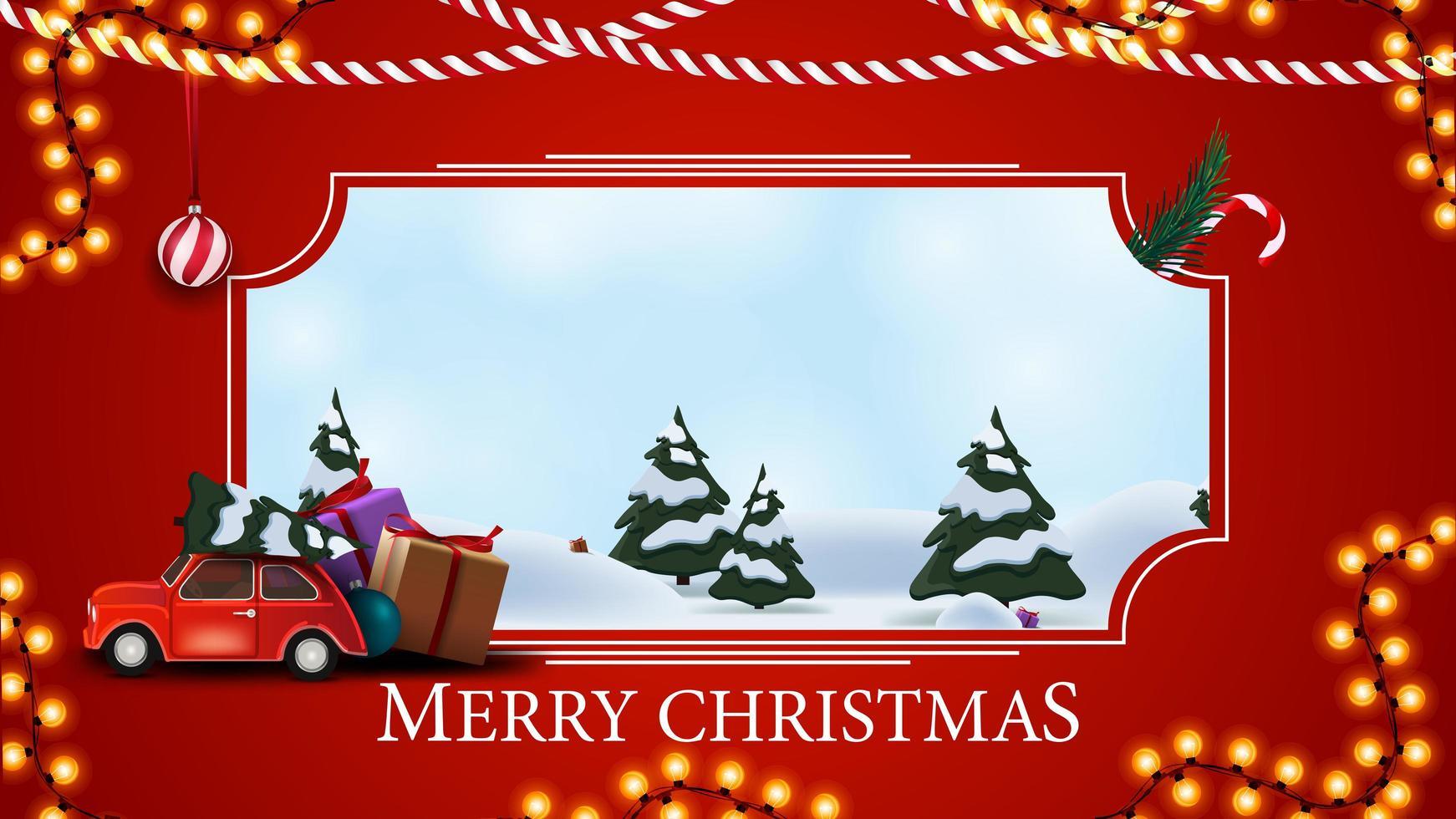 god jul, rött vykort med vintertecknad landskap, krans och röd veteranbil som bär julgran vektor
