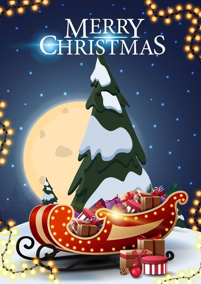 god jul, vertikalt vykort med tecknad gran, stjärnklar blå himmel, stor fullmåne och santa släde med presenter vektor