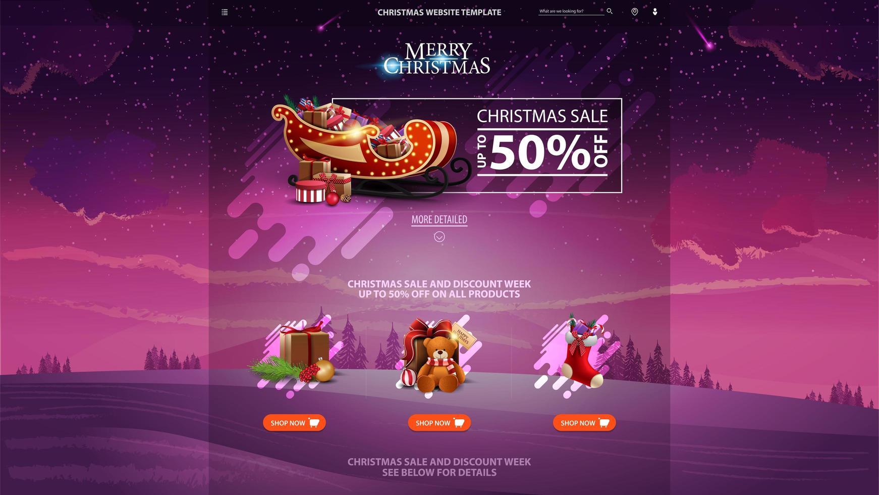 Weihnachtsverkauf Design-Website-Vorlage mit Rabatt Banner, schöne Ikonen und Winterlandschaft auf dem Hintergrund vektor