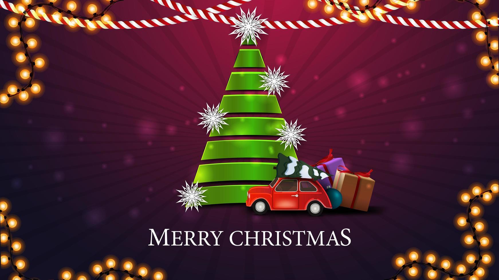 Merry Christmas, lila vykort med julgran gjord av grönt band med röd vintage bil bär julgran vektor