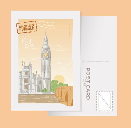 London Big Ben Vykort Handdragen Vector Illustration
