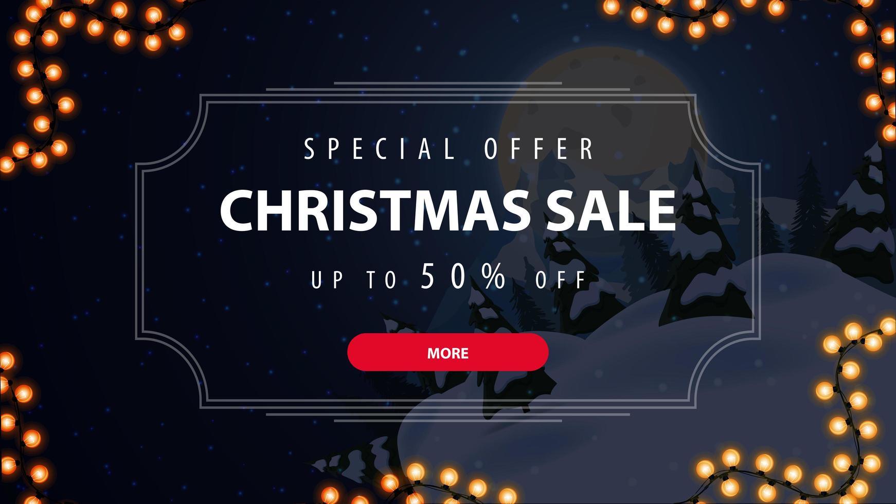 specialerbjudande, julförsäljning, upp till 50 rabatt, vacker rabattbanner med blå vinterlandskap på bakgrund och erbjudande i vintage ram vektor