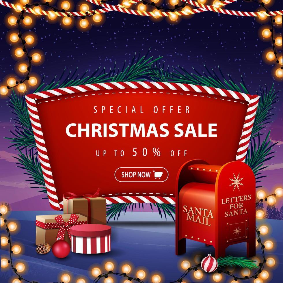Sonderangebot, Weihnachtsverkauf, bis zu 50 Rabatt, rotes Rabattbanner mit Weihnachtsbaumzweigen, Girlande, Winterlandschaft im Hintergrund und Santa Briefkasten mit Geschenken vektor