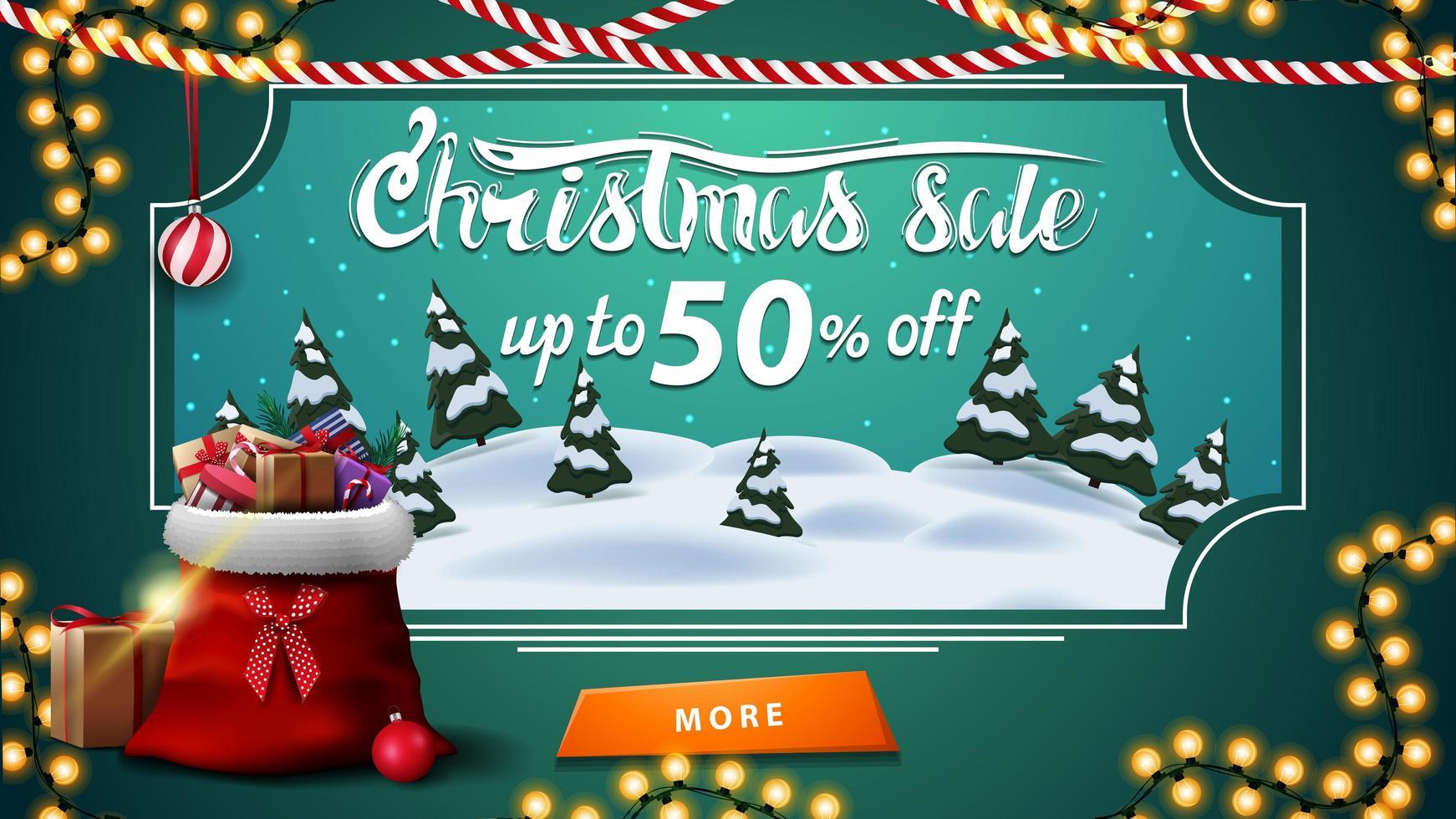 Weihnachtsverkauf, bis zu 50 Rabatt, grünes Rabatt-Banner mit Cartoon-Winterlandschaft, Knopf und Weihnachtsmann-Tasche mit Geschenken vektor