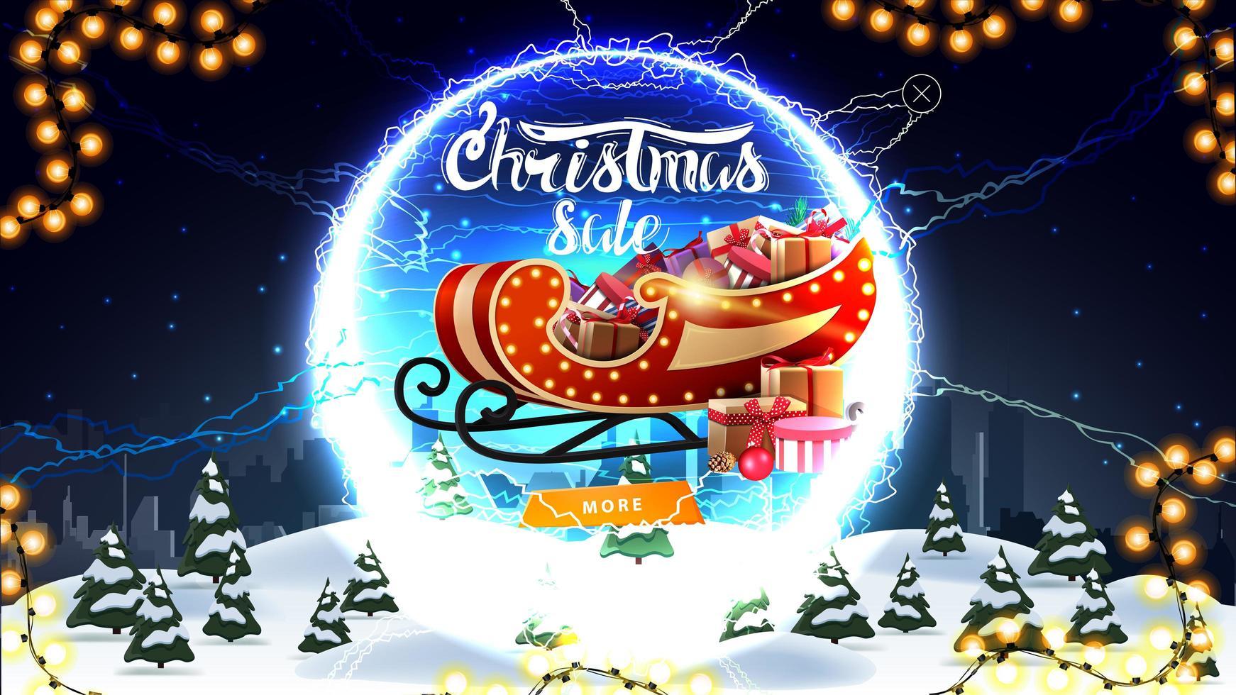 Weihnachtsverkauf, Rabatt Banner mit Winterlandschaft, Sternenhimmel, Knopf, Santa Schlitten mit Geschenken und rundes Portal mit Blitz und Angebot vektor