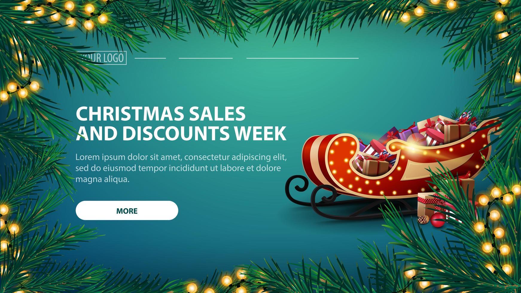 Weihnachtsverkauf und Rabattwoche, grünes Banner mit Girlande aus Tannenzweigen mit gelber Girlande und Weihnachtsschlitten mit Geschenken vektor