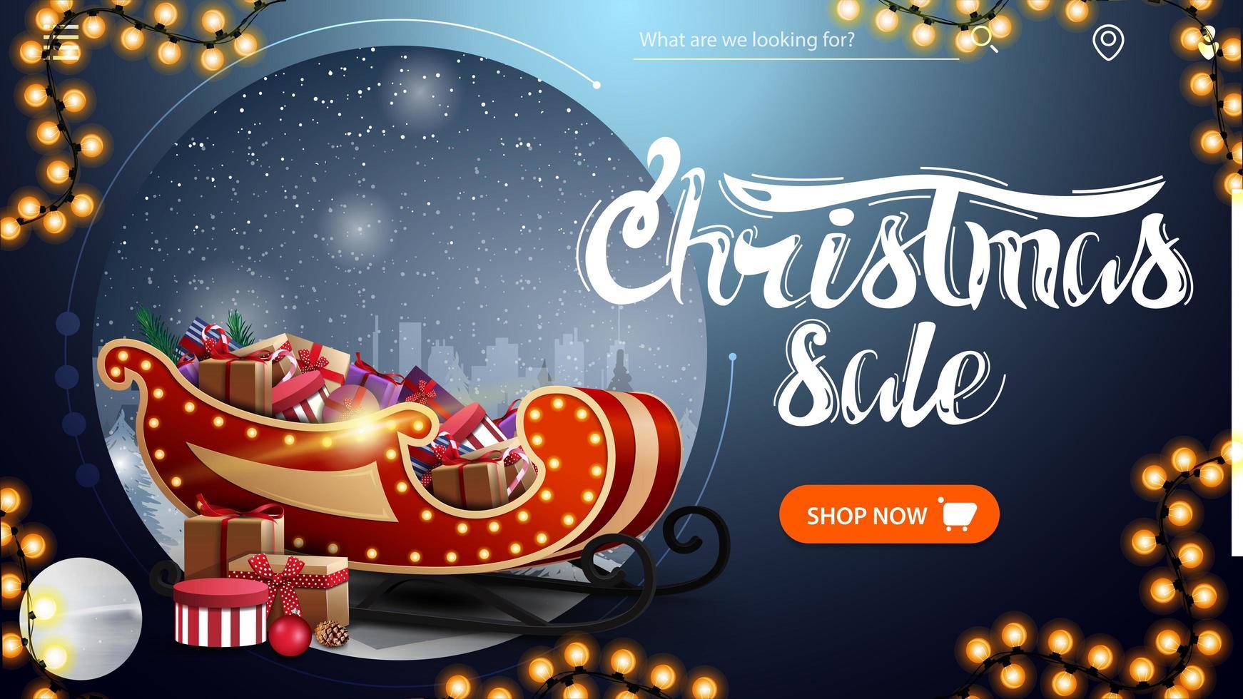 Weihnachtsverkauf, schönes blaues modernes Rabattbanner mit Winterlandschaft, Knopf, Girlande und Weihnachtsschlitten mit Geschenken vektor