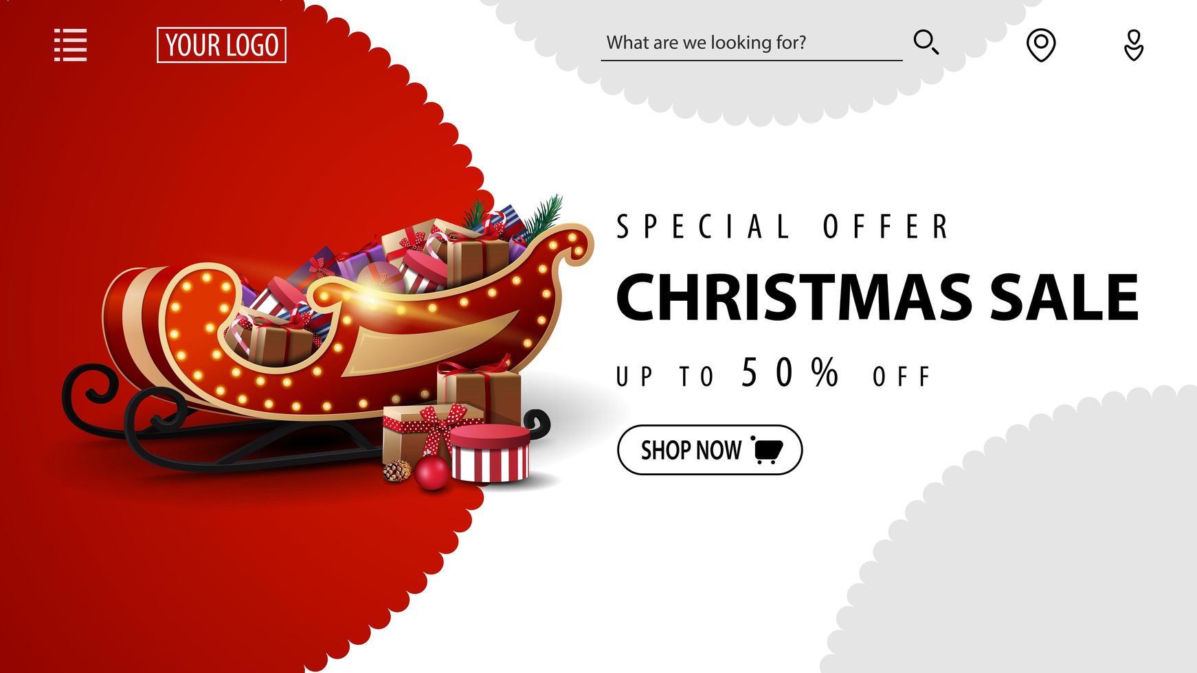 Sonderangebot, Weihnachtsverkauf, bis zu 50 Rabatt, rot-weißes Rabattbanner für Website mit Weihnachtsschlitten mit Geschenken vektor