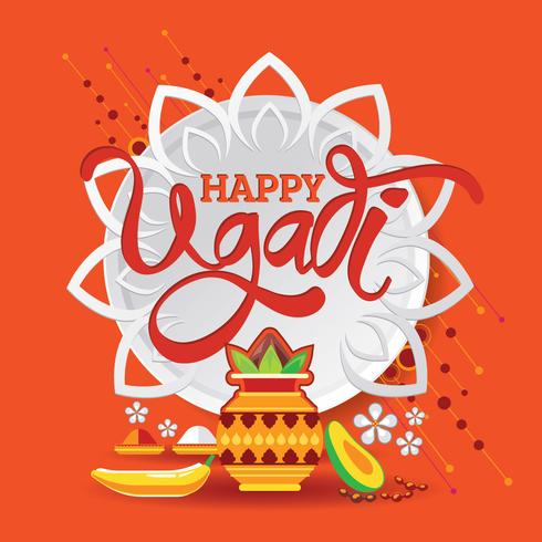 Schablone der glücklichen Ugadi Gruß-Karte Traditionelles festliches indisches Lebensmittel vektor