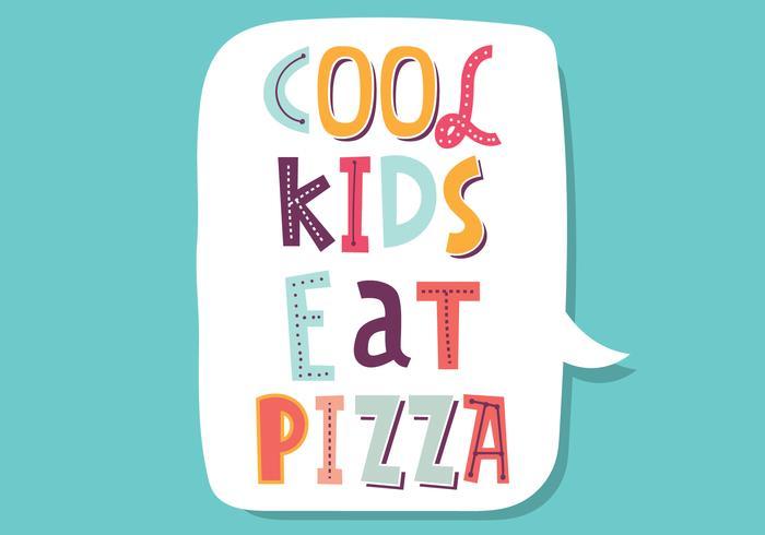 Coola barn äter pizza vektor