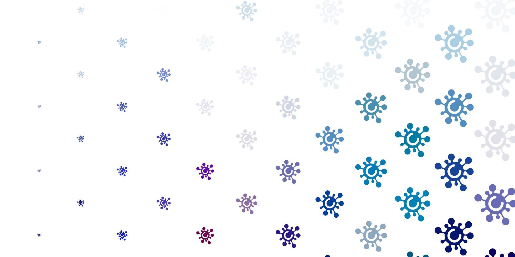 hellblauer, roter Vektorhintergrund mit covid-19 Symbolen. vektor