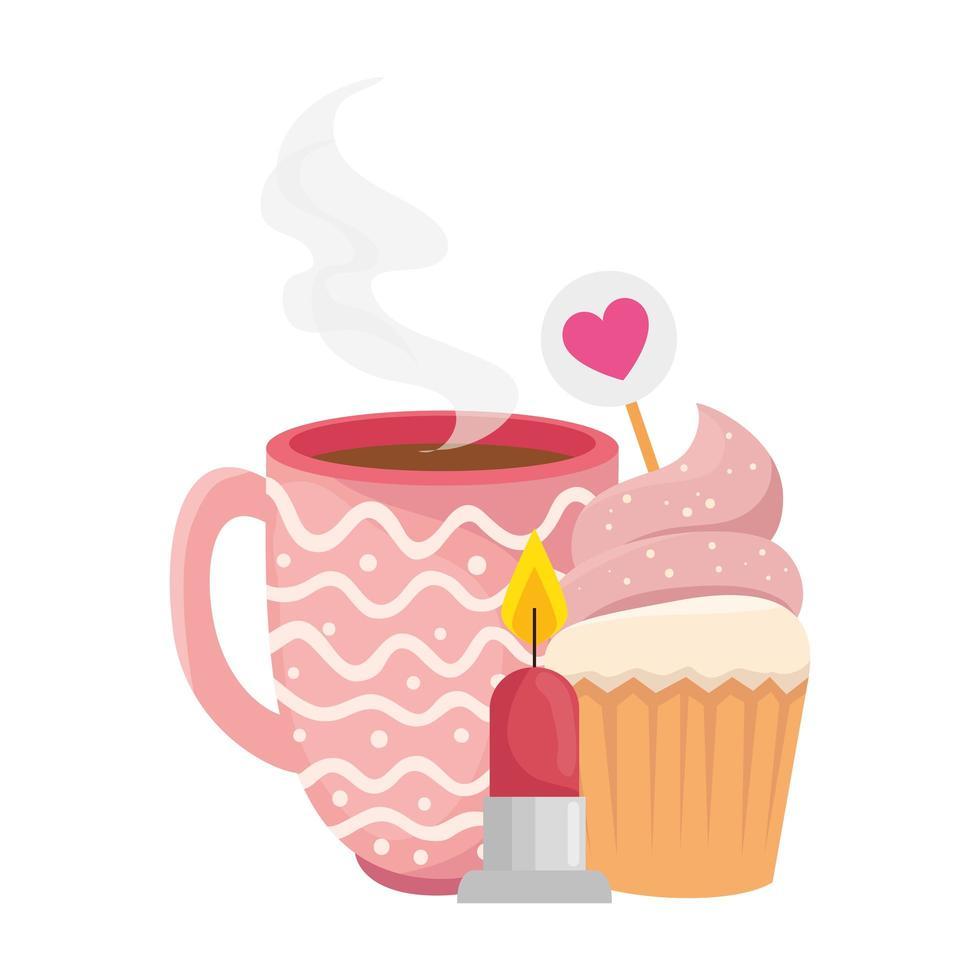 kopp kaffe med muffins och ljus vektor