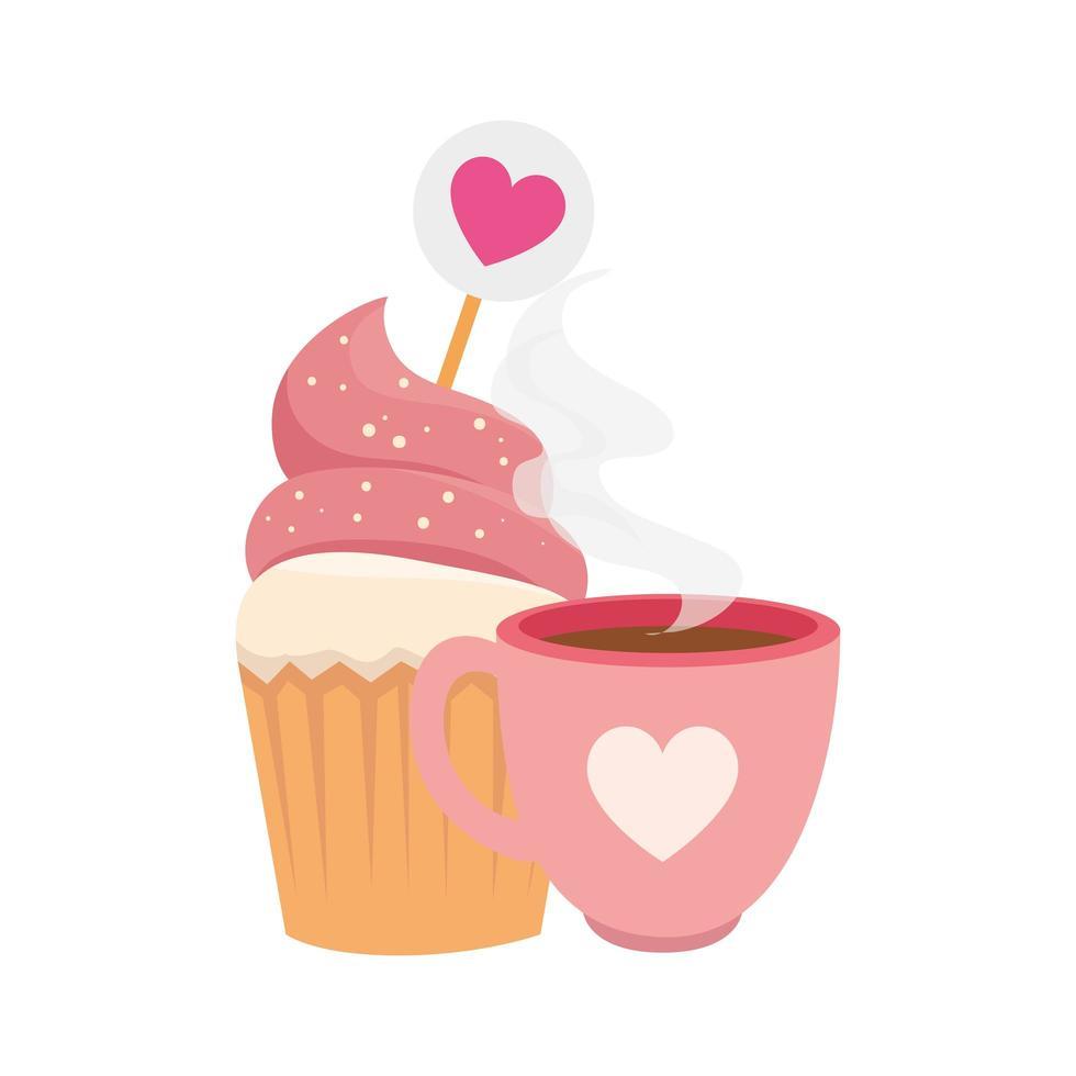 kopp kaffe med cupcake isolerad ikon vektor