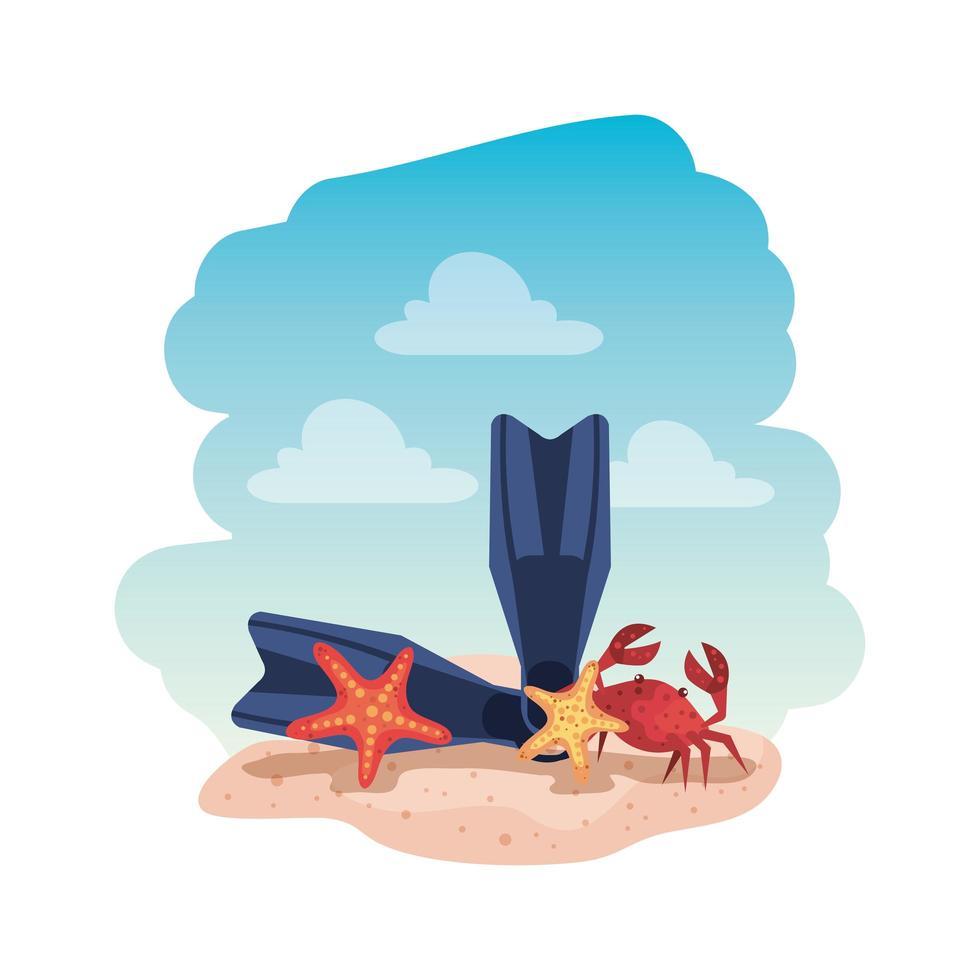 Sommer Flip Flops und Krabben mit Seesternen vektor