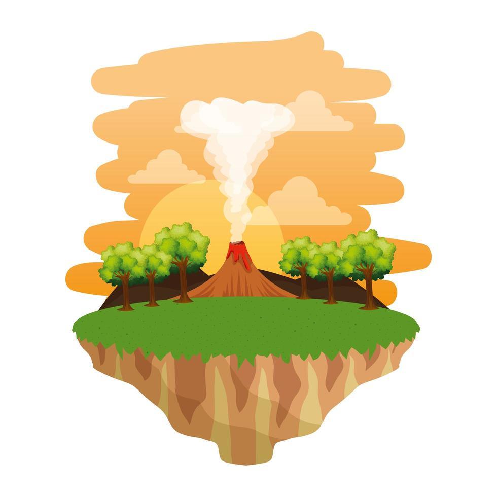 Jurassic landskap med rökande vulkan scen vektor