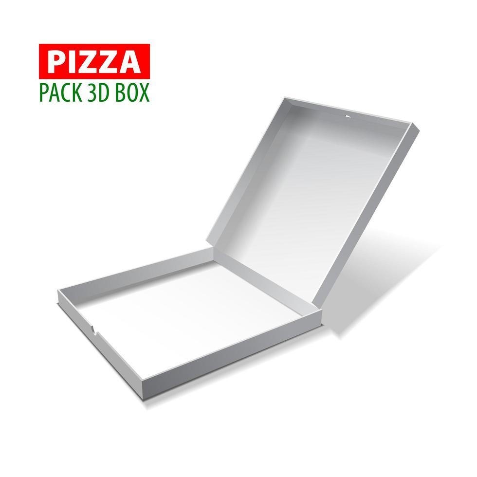 kartong vit 3d låda för pizza, vektorillustration isolerad på vitt vektor