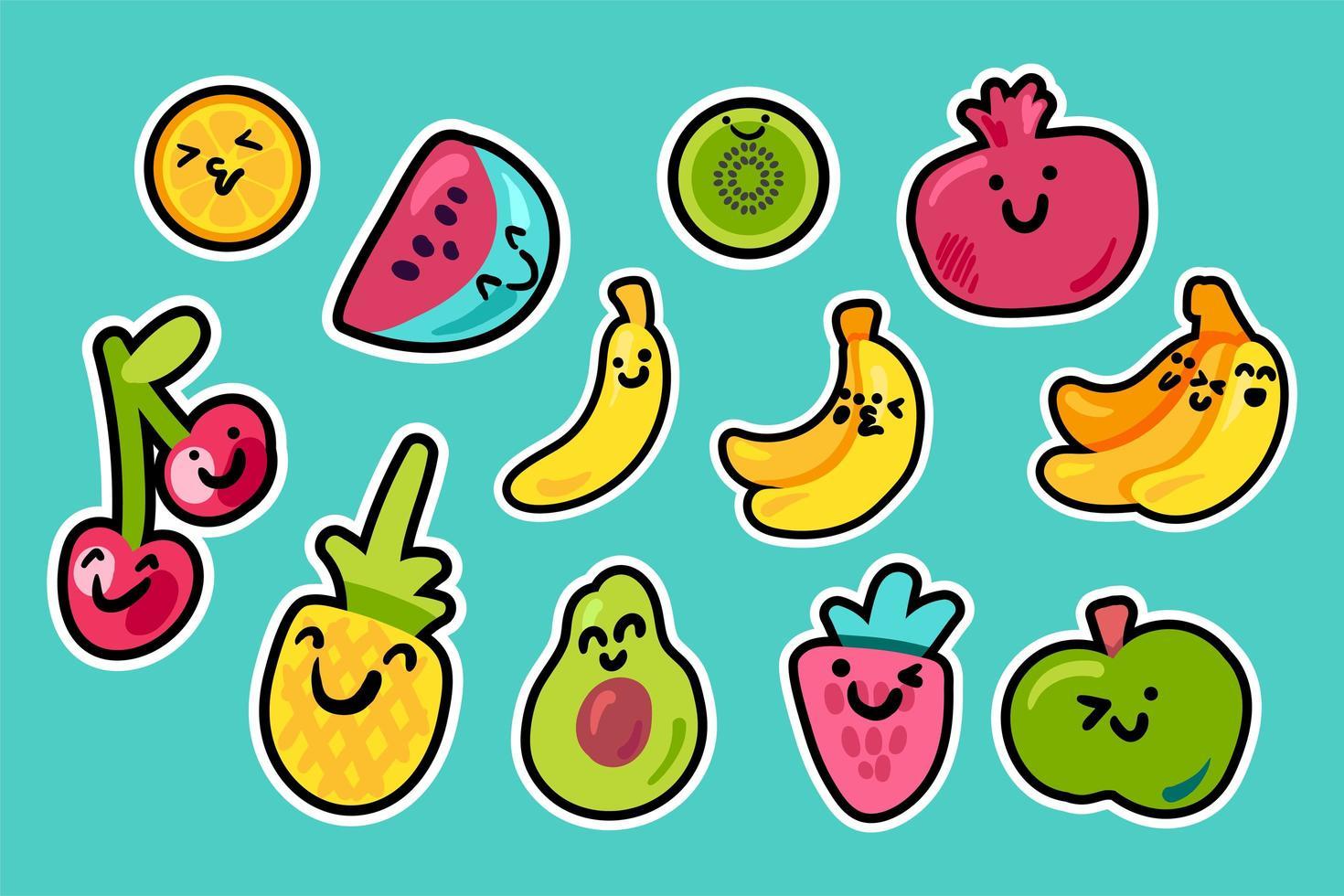 Tropenfrüchte Cartoon Kawaii Pack vektor