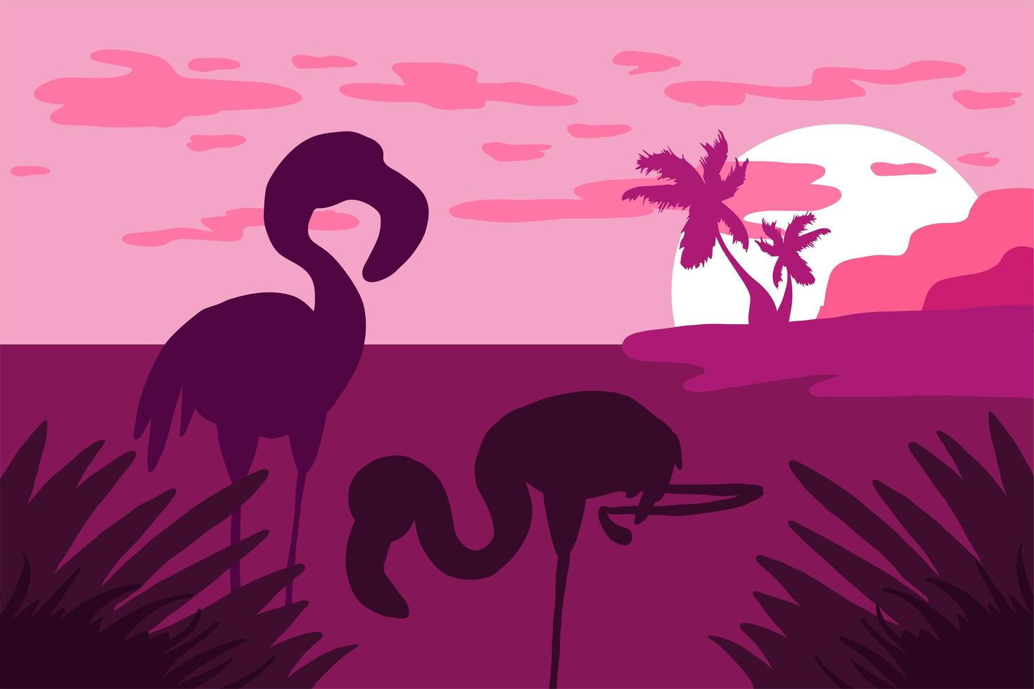 Landschaft mit flacher Vektorillustration der Flamingosilhouette vektor