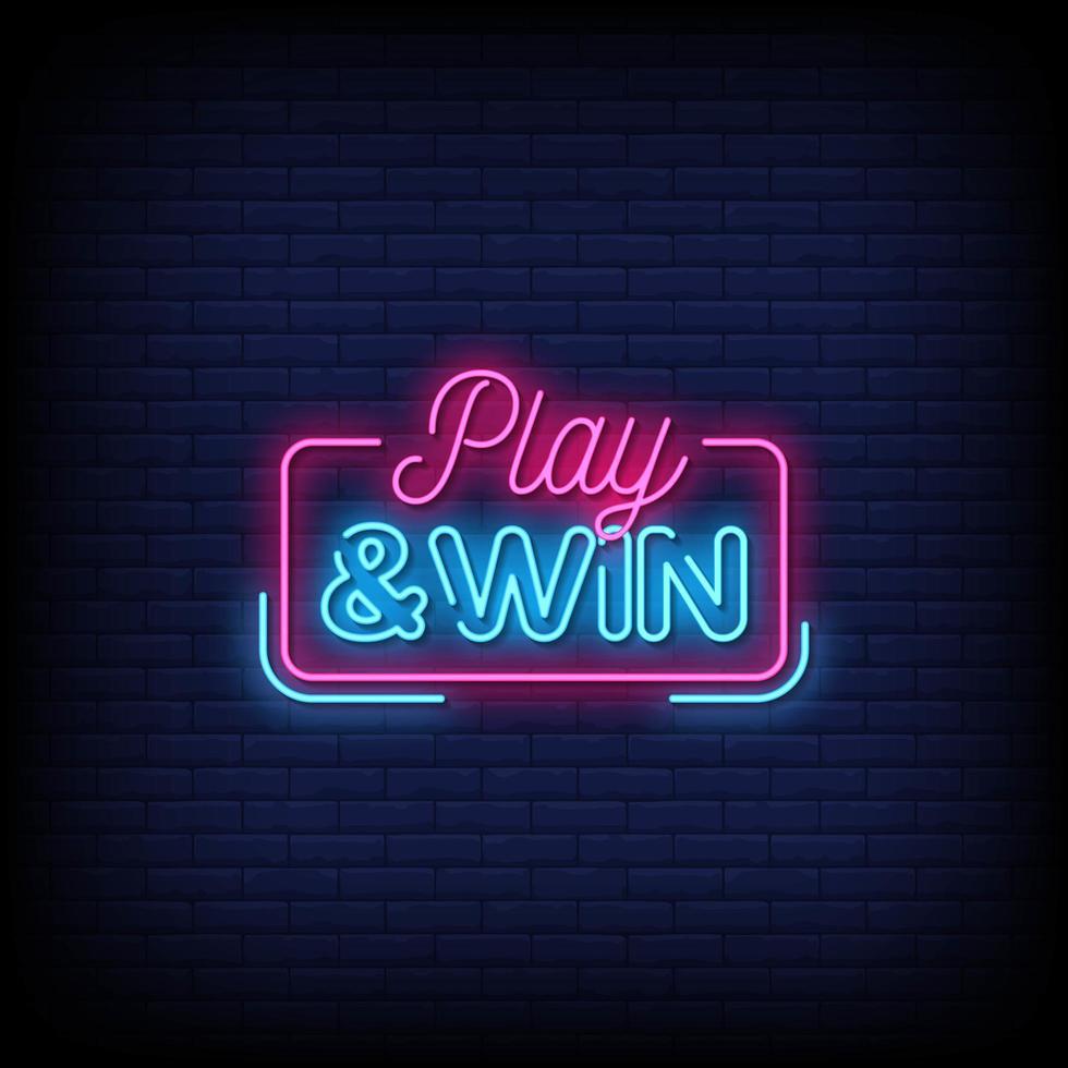 spela och vinn neonskyltar stil textvektor vektor