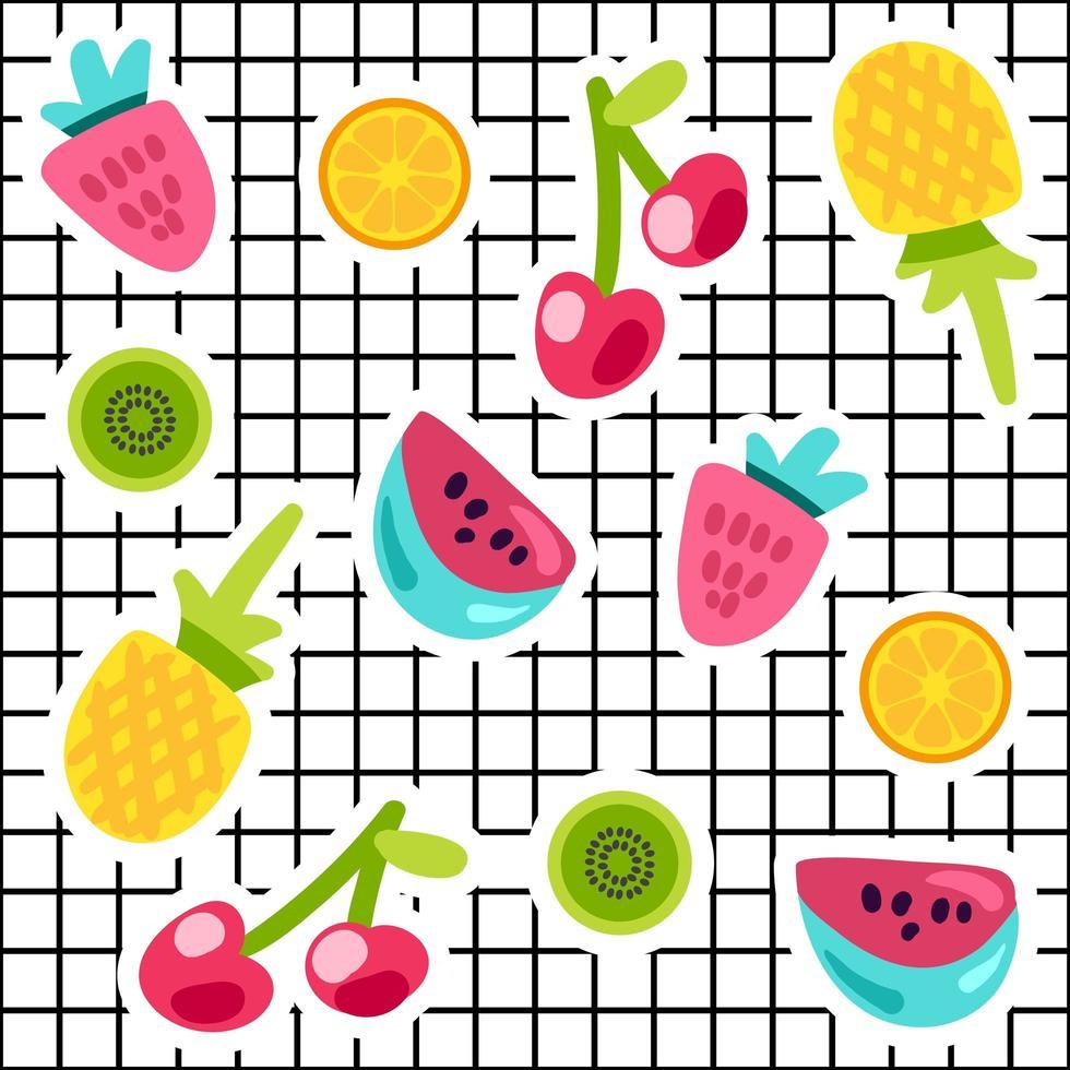 tropiska frukter doodle färg klistermärken set vektor