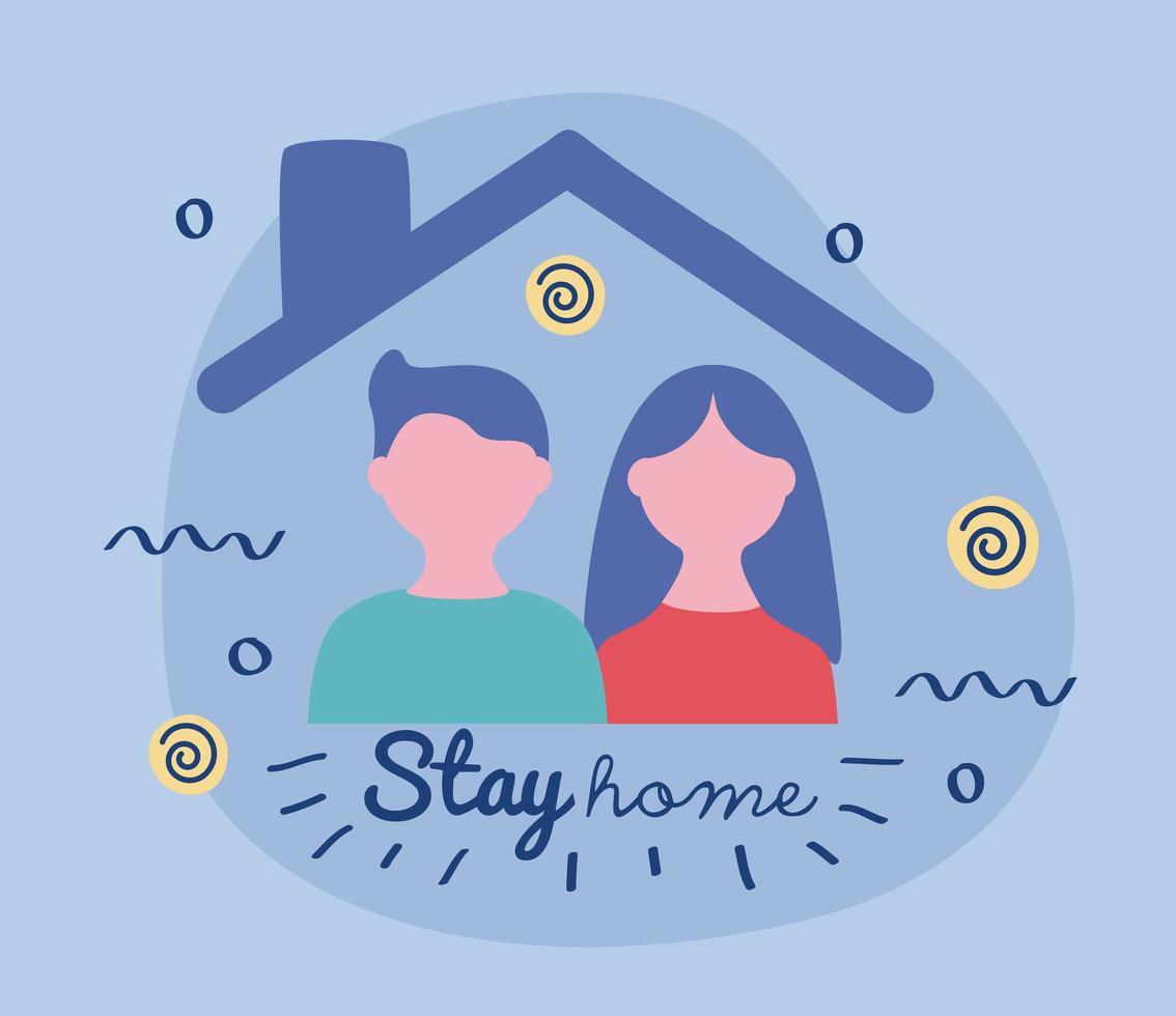 Bleiben Sie zu Hause Schriftzug Kampagne mit Paar in einem Haus vektor
