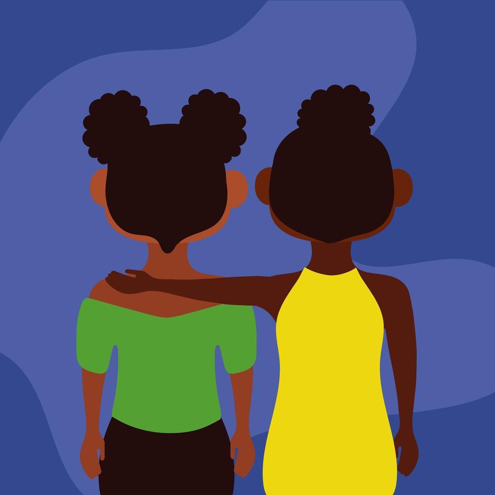 junges süßes afro Mädchenpaar vektor