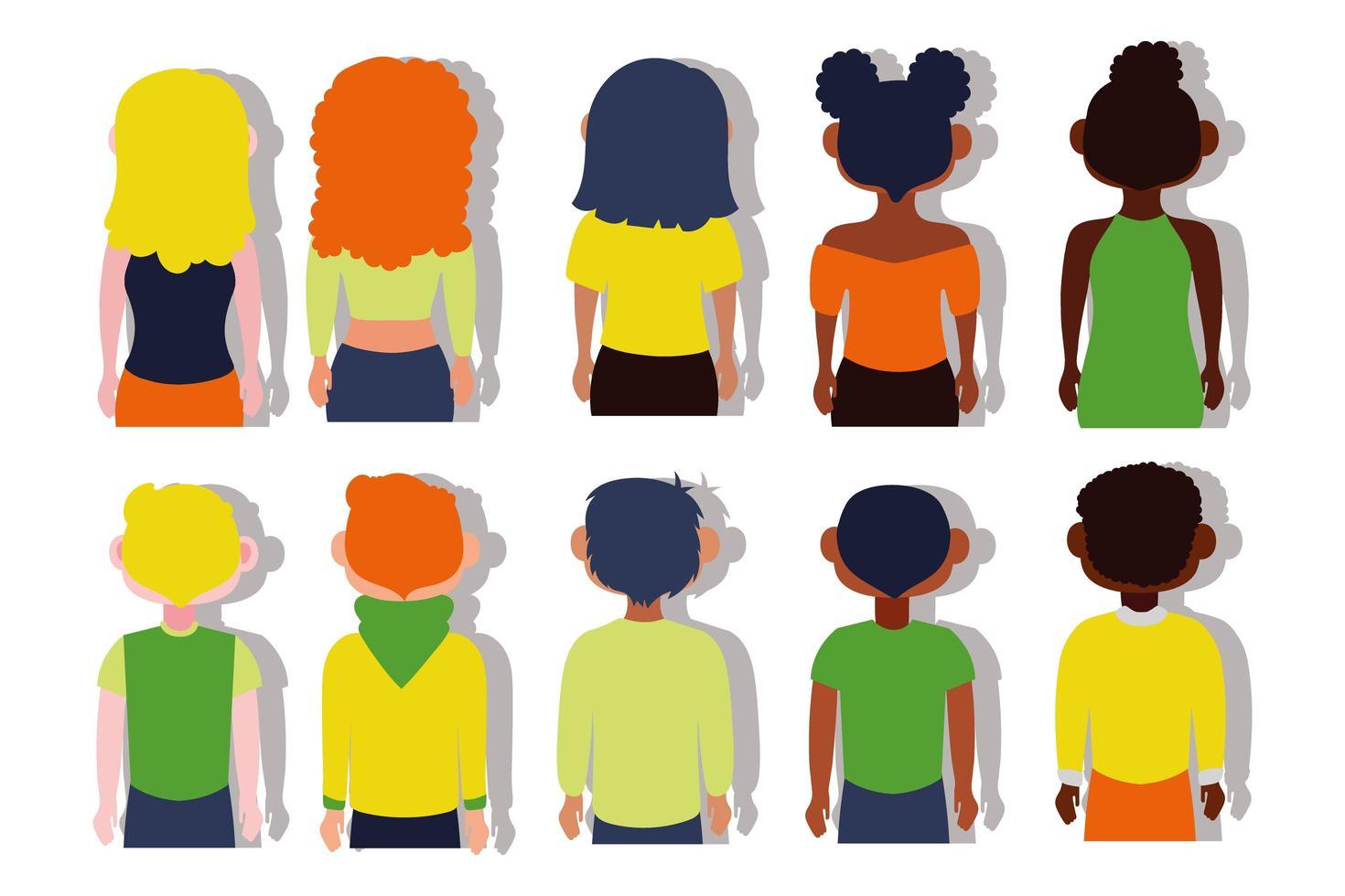 Gruppe von interracial Menschen Rücken vektor