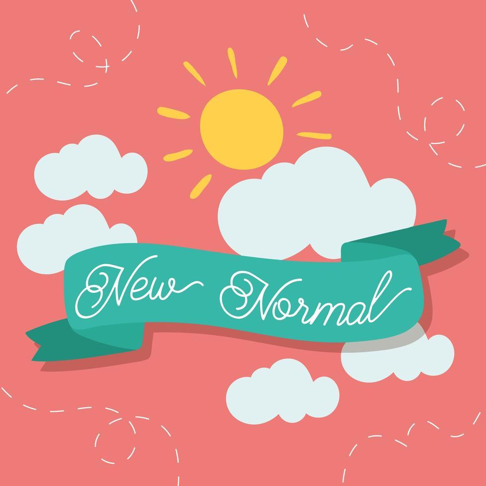 neue normale Lifestyle-Schriftzugskampagne mit Sonnen- und Bandrahmen vektor