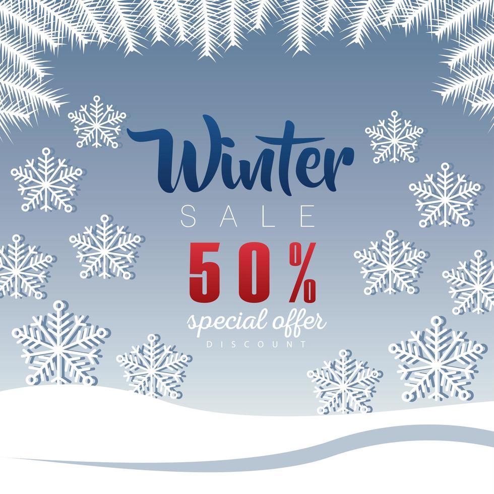 stor vinterförsäljningsaffisch med bokstäver och snöflingor vektor