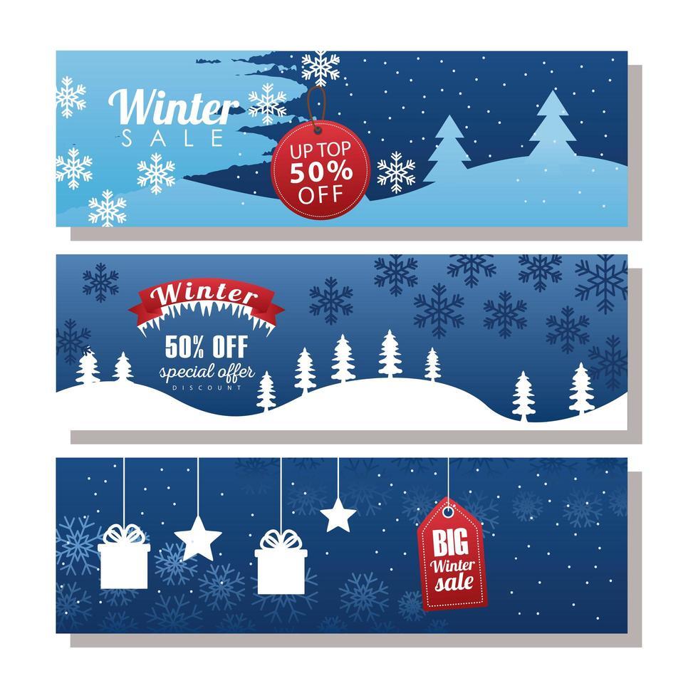 tre stora vinterförsäljningsbokstäver med taggar och band i snölandskap vektor