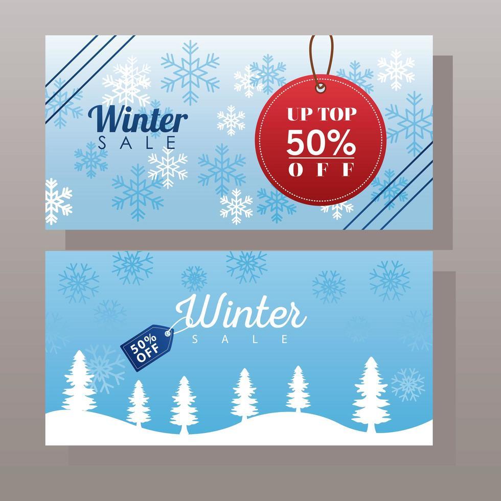 stor vinterförsäljningsaffisch med taggar som hänger i snölandskap vektor