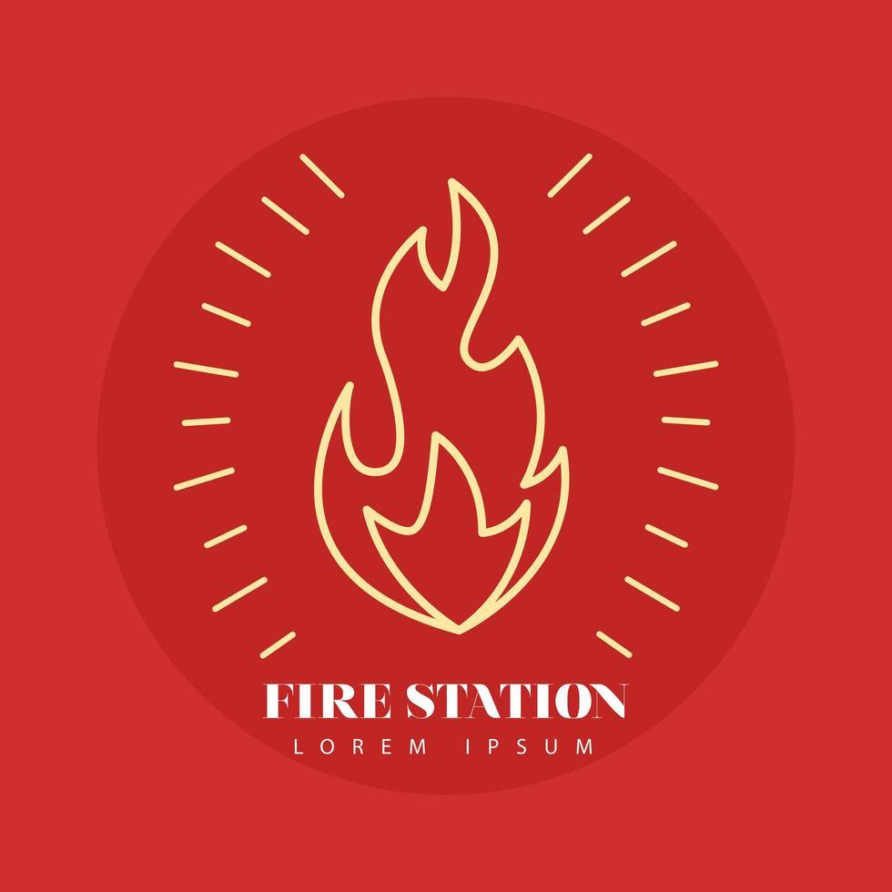 Feuerflammenlinie Stilikone in einem roten Hintergrund vektor