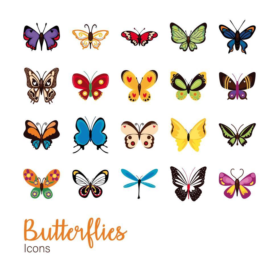 niedliche Schmetterlinge flaches Symbol gesetzt vektor