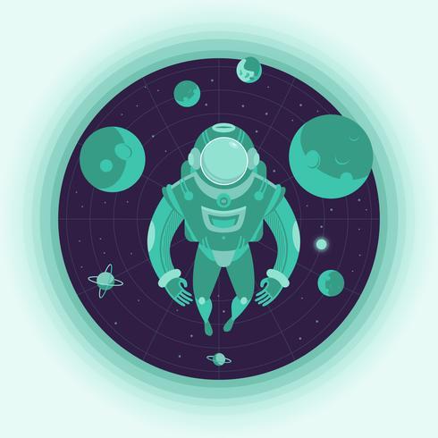 Astronaut Spaceman yttre rymdillustrationen vektor