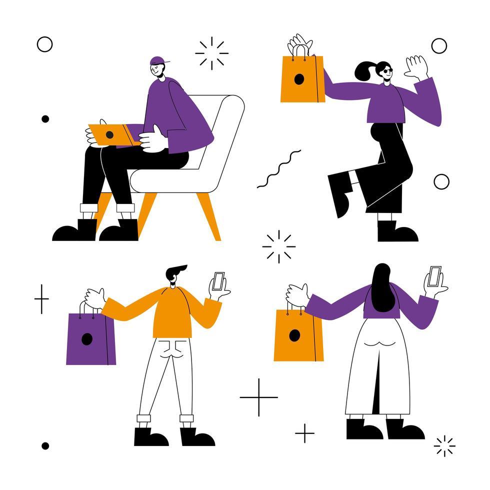 Online-Shop und Menschen Symbol Set Vektor-Design vektor