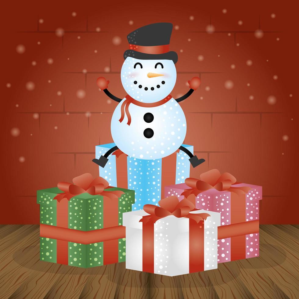 god julkort med gåvor och snögubbe vektor