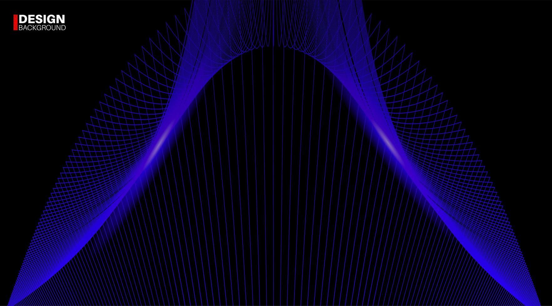 abstrakt geometrisk vektor bakgrund. blå linje våg design på en svart bakgrund.