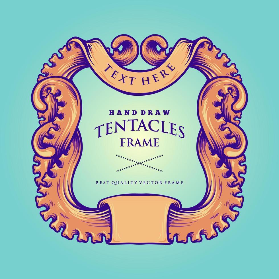 Vintage Illustration des nautischen Oktopus-Tentakels rahmen ein vektor